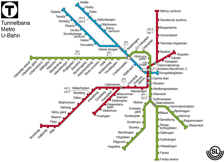 tunnelbana karta röda linjen